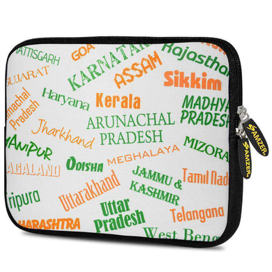 AMZER 7.75 Inch Neoprene Zipper Sleeve Tablet Pouch - Indian States Tricolour