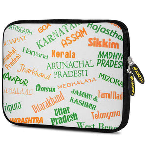 AMZER 10.5 Inch Neoprene Zipper Sleeve Tablet Pouch - Indian States Tricolour - amzer