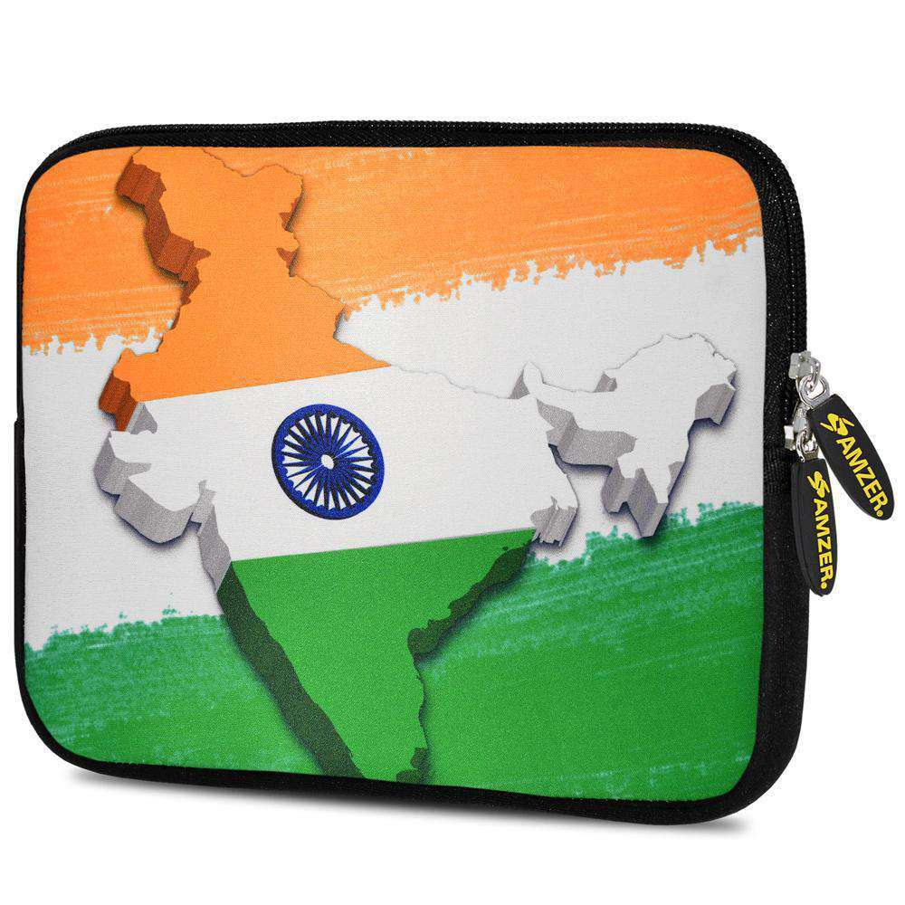 AMZER 7.75 Inch Neoprene Zipper Sleeve Pouch Tablet Bag - India Map Tiranga - amzer
