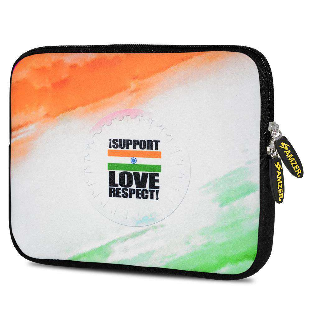 AMZER 10.5 Inch Neoprene Zipper Sleeve Tablet Pouch - India Support Love Respect