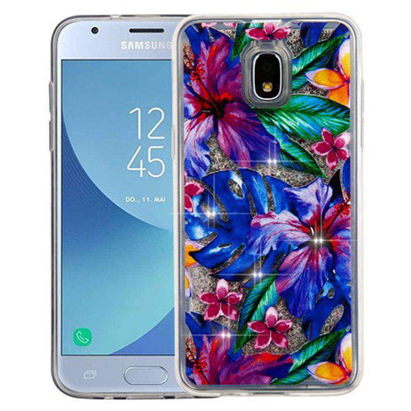 AMZER® Quicksand Glitter Hybrid Protector Cover - Watercolor Hibiscus & Silver for Samsung Galaxy J3 2018