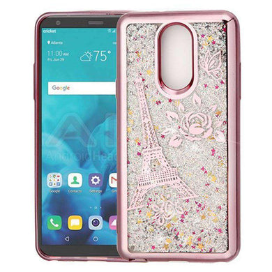 AMZER® Quicksand Glitter Hybrid Protector Cover - Rose Gold Electroplating/Eiffel Tower/Silver Confe for LG Stylo 4 - amzer