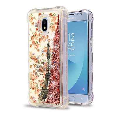 AMZER® TUFFEN Quicksand Glitter Lite Hybrid Protector Cover - Paris/Rose Gold Flowing Sparkles for Samsung Galaxy J3 2018 - amzer