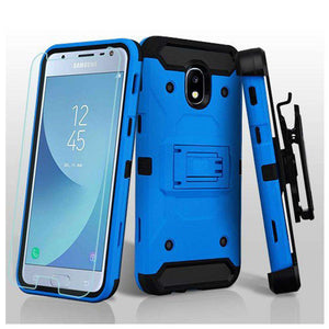 AMZER® 3-in-1 Kinetic Hybrid Protector Cover With Holster & Tempered Glass Screen Protector - Blue/B for Samsung Galaxy J3 2018 - amzer