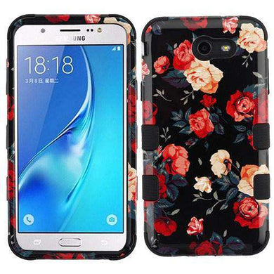 AMZER® TUFFEN Hybrid Phone Protector Cover - Red and White Roses/Black for Samsung Galaxy J7 2017 - amzer