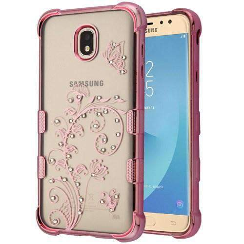 AMZER® TUFFEN Klarity Candy TPU Skin Cover - Rose Gold Plating & Lily for Samsung Galaxy J7 2018