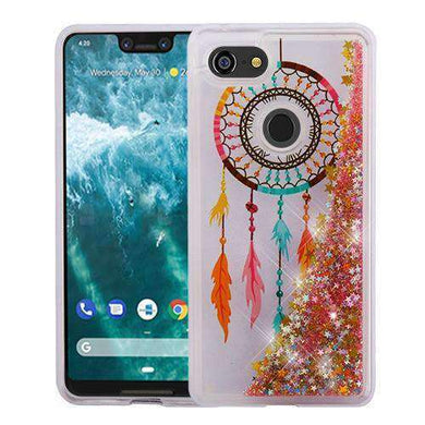 AMZER® Quicksand Glitter Hybrid Protector Cover - Dreamcatcher & Gold Stars for Google Pixel 3 XL - amzer