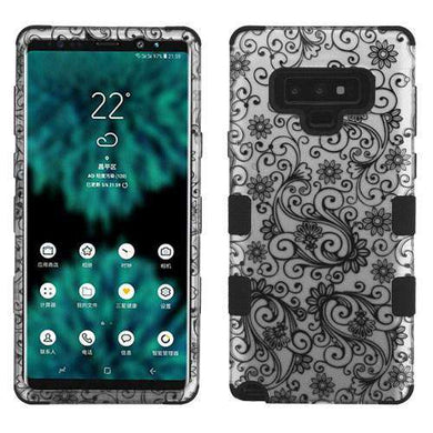 AMZER® TUFFEN Hybrid Protector Cover - Black Four-Leaf Clover /Black for Samsung Galaxy Note9 - amzer