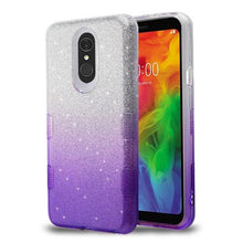 Load image into Gallery viewer, AMZER® TUFFEN Full Glitter Hybrid Protector Cover - Purple for LG Q7