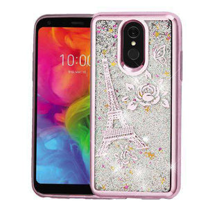 AMZER® Quicksand Glitter Hybrid Protector Cover - Rose Gold Eiffel Tower for LG Q7 - amzer