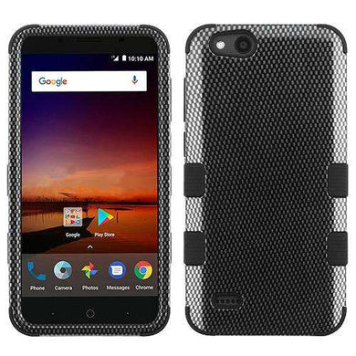 AMZER® TUFFEN Hybrid Phone Protector Cover - Carbon Fibre/Black for ZTE Tempo X N9137