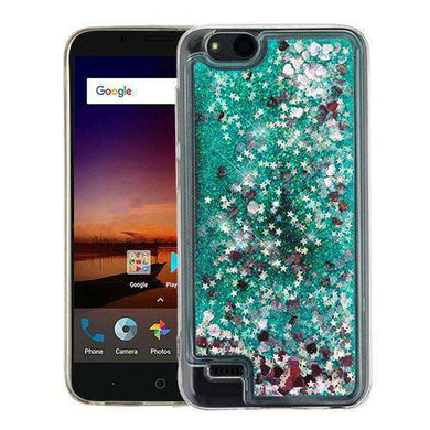 AMZER® Quicksand Glitter Hybrid Protector Cover - Green Hearts for ZTE Tempo X N9137