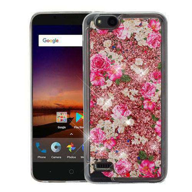 AMZER® Quicksand Glitter Hybrid Protector Cover - European Rose & Rose Gold for ZTE Tempo X N9137