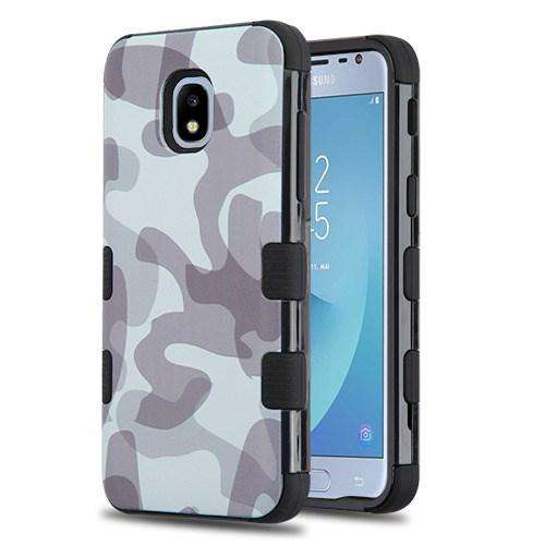 AMZER® TUFFEN Hybrid Phone Case Protector Cover - Gray Camouflage/Black for Samsung Galaxy J3 2018