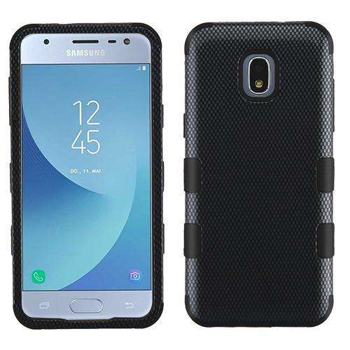 AMZER® TUFFEN Hybrid Phone Case Protector Cover - Carbon Fiber Black for Samsung Galaxy J3 2018