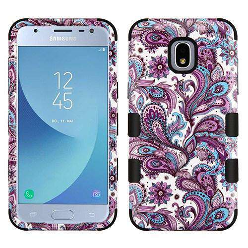 AMZER® TUFFEN Hybrid Phone Case Protector Cover - Purple Flowers/Black for Samsung Galaxy J3 2018