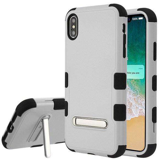 AMZER® TUFFEN Hybrid Protector Cover With Magnetic Metal Stand - Gray/Black for iPhone Xs Max