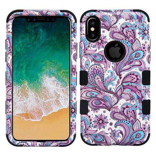 AMZER® TUFFEN Hybrid Phone Case Protector Cover - European Flowers/Black for iPhone X/ iPhone Xs