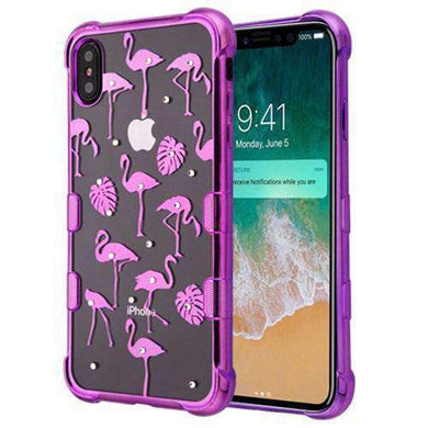 AMZER® Hybrid TPU Skin Cover - Flamingo Land Diamante/Purple for iPhone Xs Max