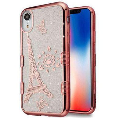 AMZER® Hybrid Glitter Protector Cover - Electroplating Rose Gold Eiffel Tower for iPhone Xr