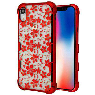 AMZER® TUFFEN Candy TPU Skin Cover -Red Plating & Hibiscus for iPhone Xr - amzer
