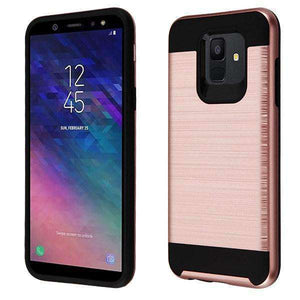 AMZER® Brushed Hybrid Protector Cover - Rose Gold/Black for Samsung Galaxy A6 - amzer
