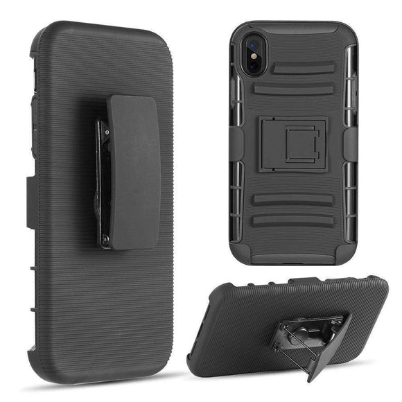 AMZER® Hybrid Kickstand Case With Holster - Black/ Black for iPhone Xs Max