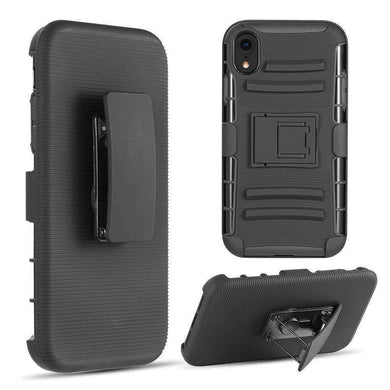 AMZER Hybrid Dual Layer Kickstand Case With Holster for iPhone Xr - Black/Black