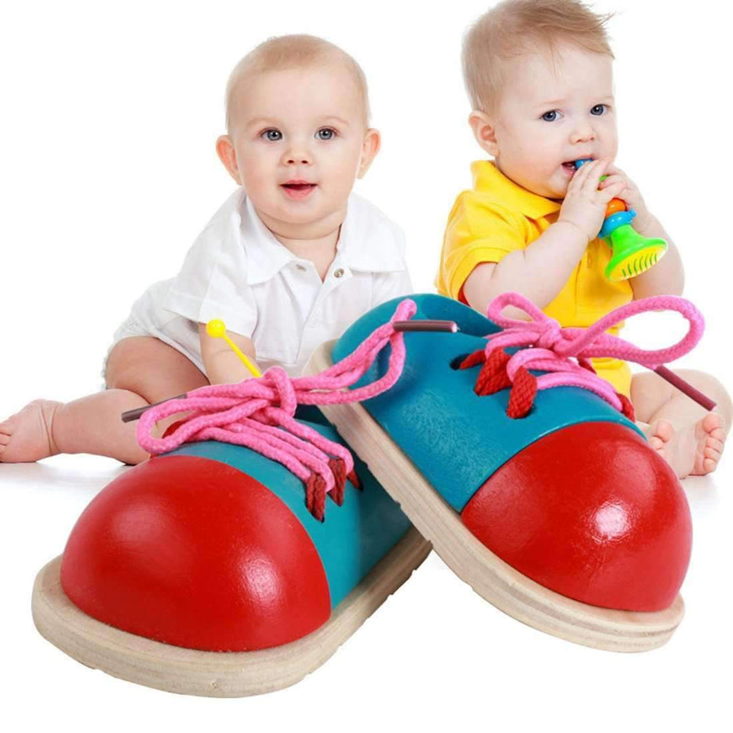 1 Pair Educational Kids Toys Wooden Shoelace Tying Practice Toy - amzer