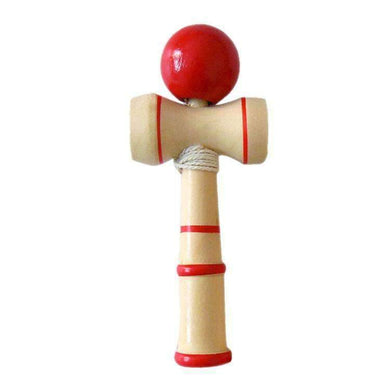 Classic Wooden Skill Toy Kendama with Extra String, Size: 13.5 x 5.5cm (Red) - amzer