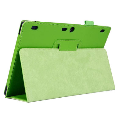 AMZER 2-Fold Flip Leather Case With Holder For Lenovo Tab2 A10-70 - Green