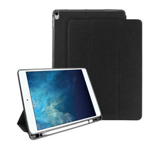 Load image into Gallery viewer, AMZER Cloth Texture Horizontal PU+TPU 3-Fold Flip Leather Case With Pen Slot & Sleep/ Wake-up Function for Apple iPad Air 10.5 2019/ Apple iPad Pro 10.5 - Black