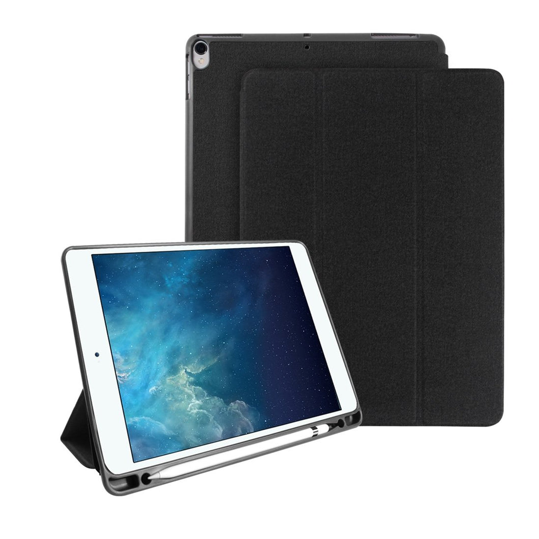 AMZER Cloth Texture Horizontal PU+TPU 3-Fold Flip Leather Case With Pen Slot & Sleep/ Wake-up Function for Apple iPad Air 10.5 2019/ Apple iPad Pro 10.5 - Black