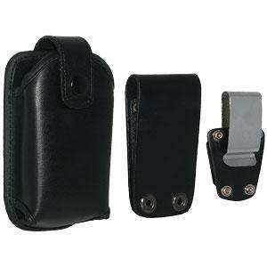 AMZER® Rugged Leather Holster w/Belt Clip - Black for BlackBerry 7210