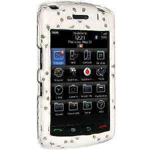 AMZER Faux Leather Bling Snap On Hard Case for BlackBerry Storm 2 9550 - White