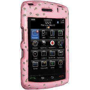 AMZER Faux Leather Bling Snap On Hard Case for BlackBerry Storm 2 9550 - Pink