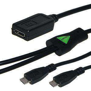 Amzer® Convert Micro USB to Dual Micro USB Twin Y Splitter Charging Handy Data Cable - amzer