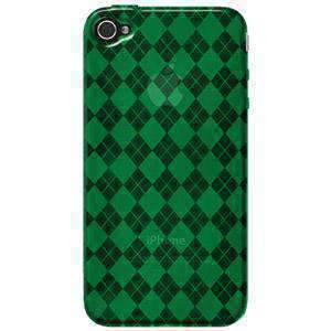 AMZER Luxe Argyle High Gloss TPU Soft Gel Skin Case for iPhone 4 - Green