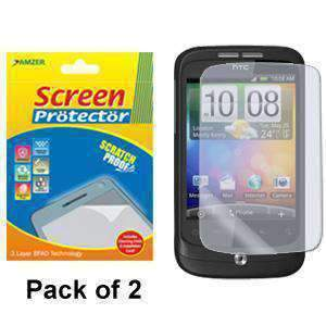 AMZER Kristal Screen Protector with Cleaning Cloth for HTC Wildfire - Pack of 2