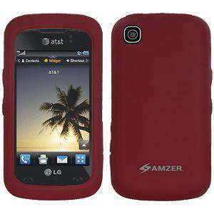 AMZER Silicone Skin Jelly Case for LG Encore GT550 - Maroon Red