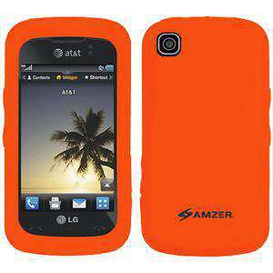 AMZER Silicone Skin Jelly Case for LG Encore GT550 - Orange