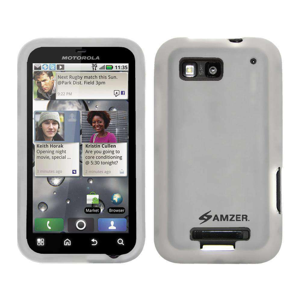 AMZER Silicone Skin Jelly Case for Motorola DEFY MB525 - Transparent White - amzer