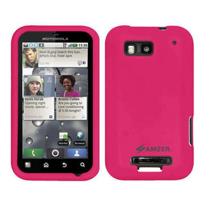 AMZER Silicone Skin Jelly Case for Motorola DEFY MB525 - Hot Pink - amzer