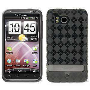 AMZER Luxe Argyle TPU Soft Gel Skin Case for HTC ThunderBolt - Smoke Grey
