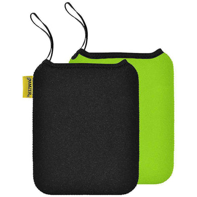 Amzer® Neoprene Sleeve 10 inches Reversible Carry Case Cover - Ebony Black / Sea Green - amzer