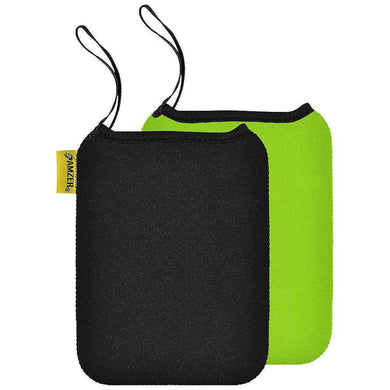 Amzer® Neoprene Sleeve 7.5 inches Reversible Carry Case Cover - Ebony Black / Sea Green - amzer