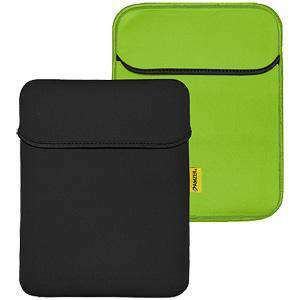 Amzer® Neoprene Sleeve 10.6 inches Case Cover with Pocket- Matt Black / Leaf Green - amzer