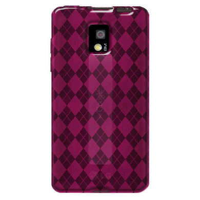 AMZER Luxe Argyle High Gloss TPU Soft Gel Skin Case for LG G2x - Hot Pink - amzer