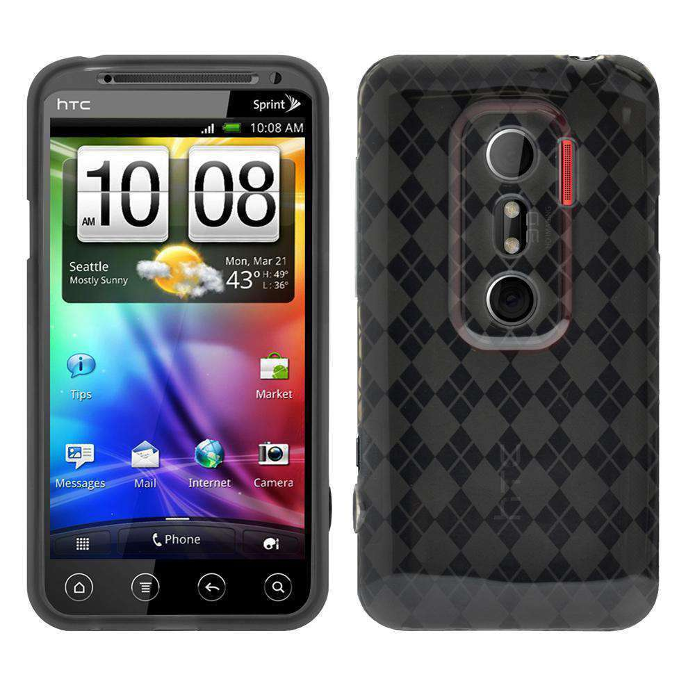 AMZER Luxe Argyle High Gloss TPU Soft Gel Skin Case for HTC EVO 3D - Smoke Grey