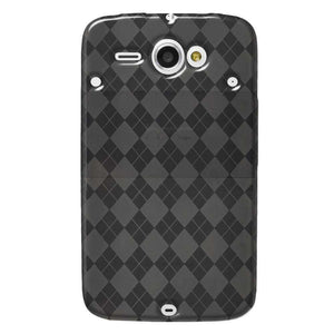 AMZER Luxe Argyle High Gloss TPU Soft Gel Skin Case for HTC ChaCha - Smoke Grey